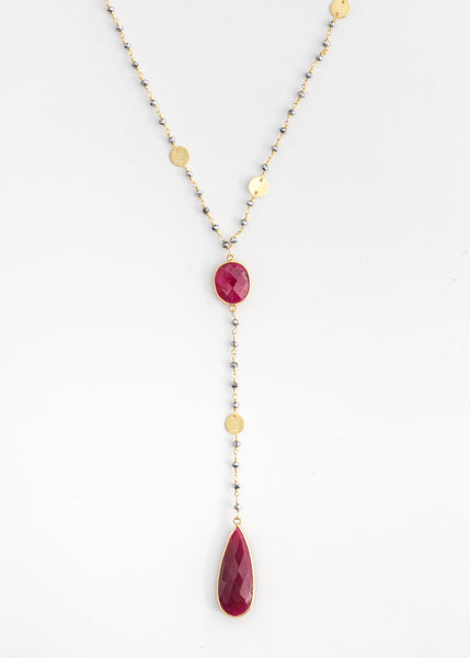 The Diana Resort Necklace in Polished Pyrite with Ruby Drop