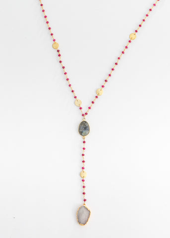 The Diana Resort Necklace in Ruby with Labradorite Center and White Druzy Drop