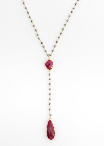 The Diana Necklace in Pyrite with Ruby Drop