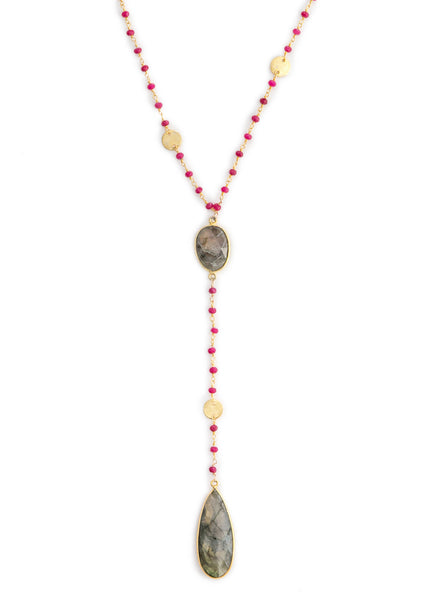 The Diana Necklace in Ruby with Labradorite Drop