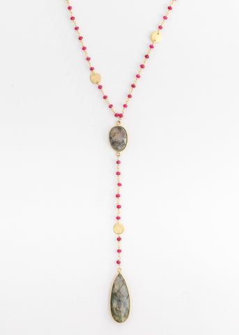 The Diana Resort Necklace in Ruby with Labradorite Drop