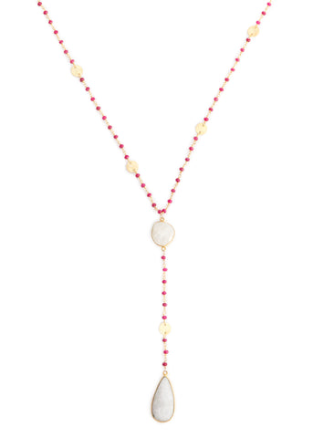 The Diana Necklace in Ruby with Moonstone Drop