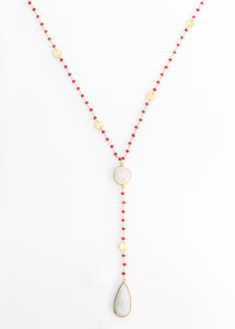 The Diana Resort Necklace in Ruby with Rainbow Moonstone Drop