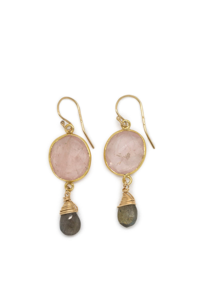 The Victoria Earring Rose Quartz with Labradorite