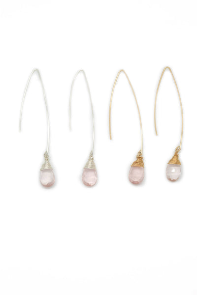 The Jill  Long Wire Drop Earrings in Rose Quartz