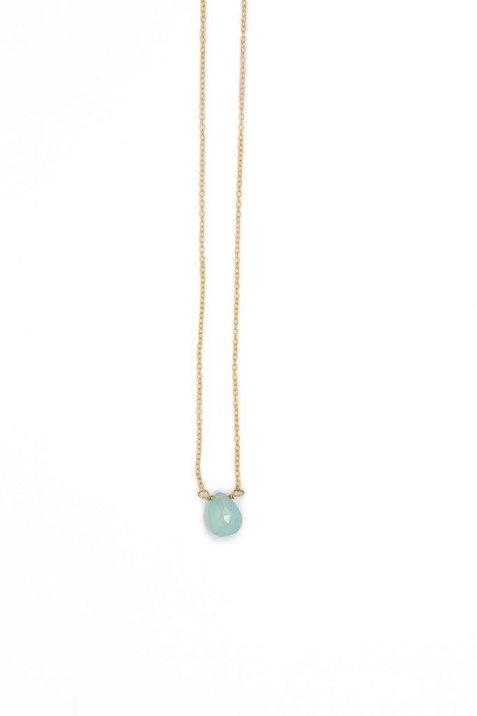 The Julie B. Delicate Drop Necklace in Chalcedony