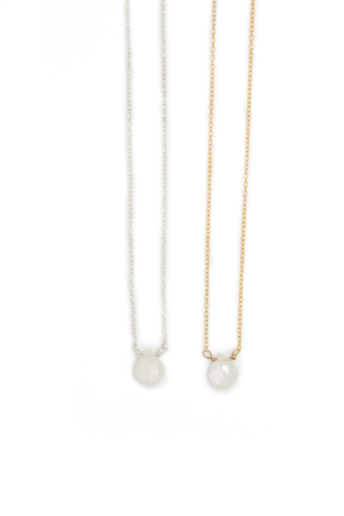The Julie B. Delicate Drop Necklace in Moonstone