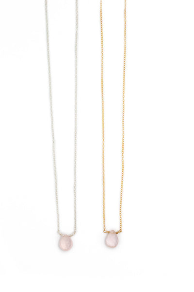 The Julie B. Delicate Drop Necklace in Rose Quartz