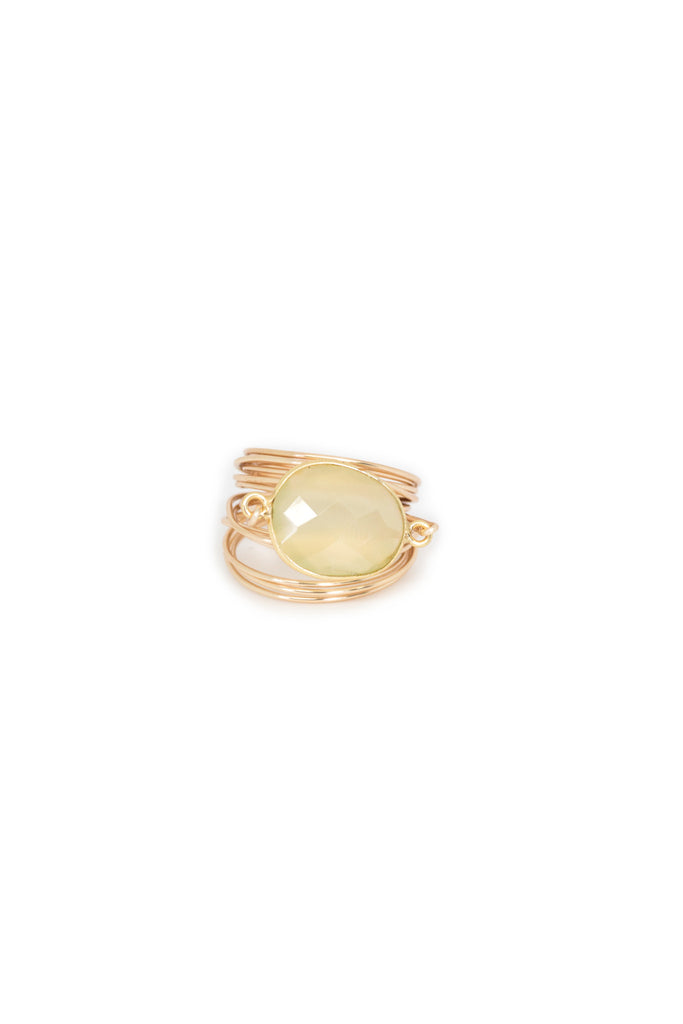 The Torrey Ring in Green Chalcedony