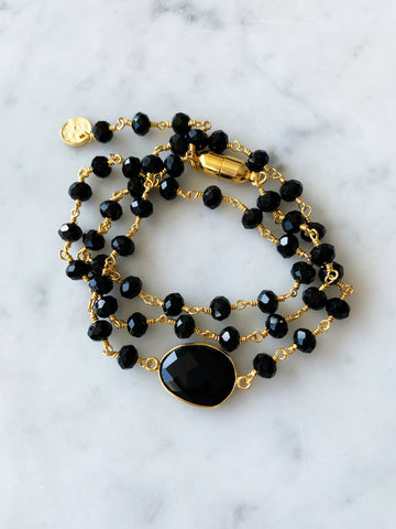 Hana Two in One Wrap Bracelet/Necklace with Magnet Black Onyx