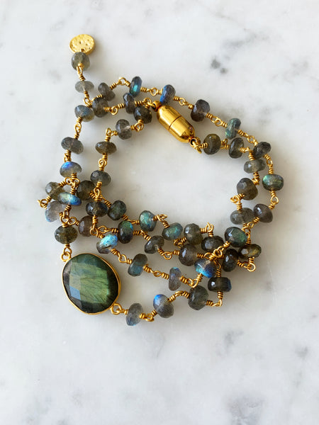 Hana Two in One Wrap Bracelet/Necklace with Magnet Labradorite