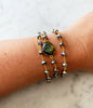 Hana Two in One Wrap Bracelet/Necklace with Magnet Polished Pyrite with Labradorite