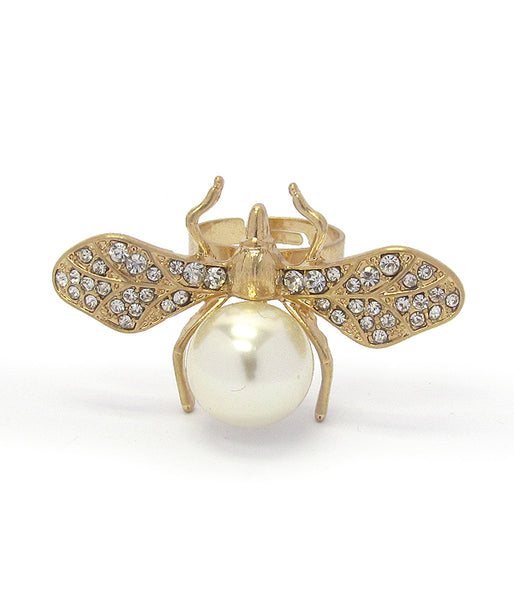 A Blonde and Her Bag Gold/Crystal and Round Shape Pearl Bee Adjustable Ring