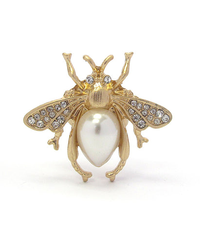 A Blonde and Her Bag Gold/Crystal and Pear Shape Pearl Bee Adjustable Ring