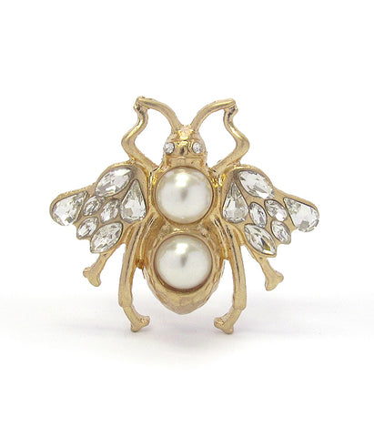 A Blonde and Her Bag Gold/Crystal and Double Pearl Bee Adjustable Ring