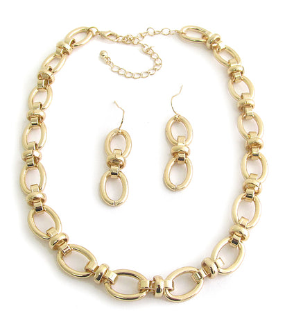 Chunky Metal Statement Chain Necklace and Earring Set