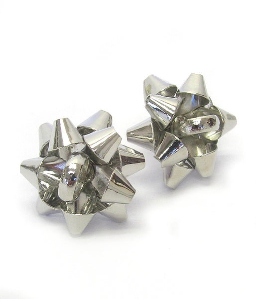 Silver Christmas Theme Gift Box Bow Stud Earring