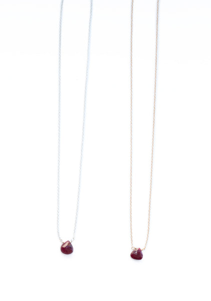 The Julie B. Delicate Drop Necklace in Ruby