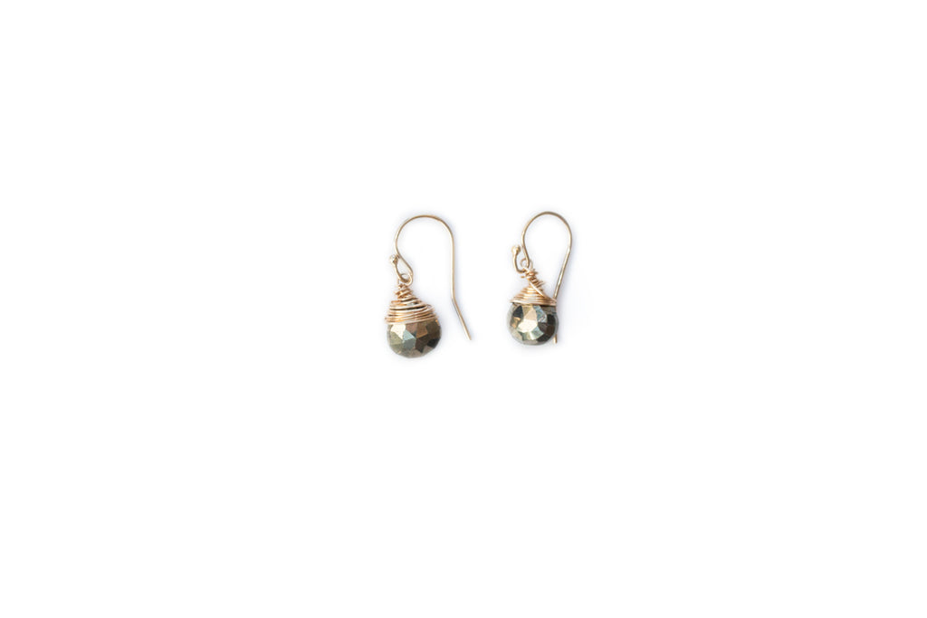SALE Jill Short Drop Earring in Pyrite