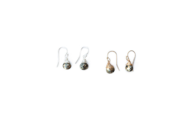 Jill Short Drop Earring in Pyrite