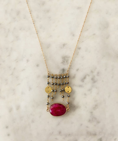 The Jessica Gold Coin Necklace Ruby and Pyrite