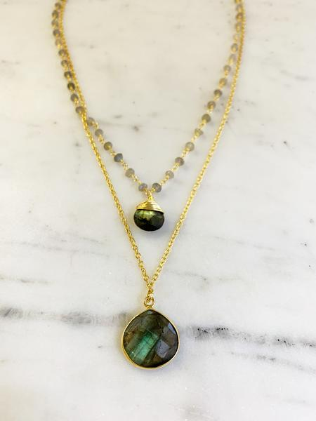 Jill Necklace gold Labradorite chain with double Labradorite Pendent