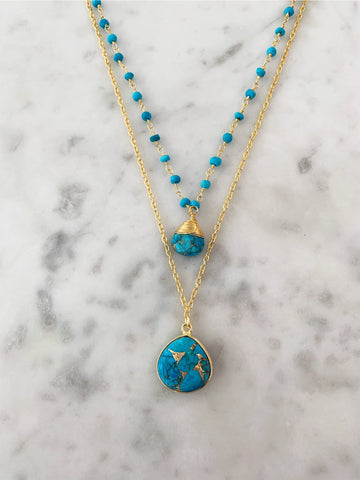 Jill Necklace Gold Turquoise chain with Copper Turquoise Pendent