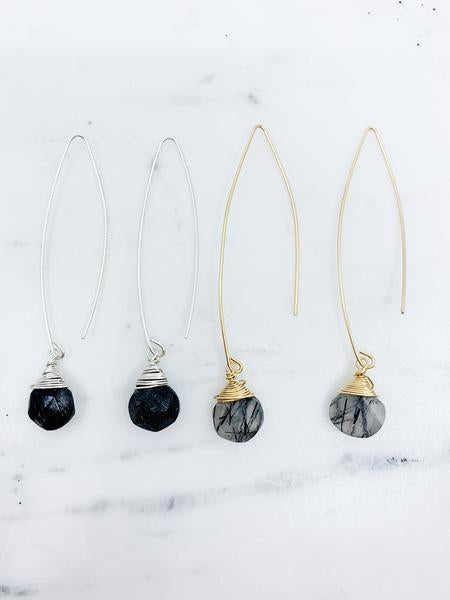 Jill Long Wire Drop Earrings in Black Rutilated Quartz