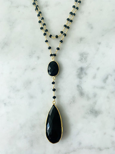 A Blonde and Her Bag Diana Double Necklace Black Onyx