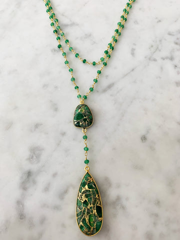 Diana Double Denmark Necklace Green Onyx with Green Mojave Copper Turquoise Drop