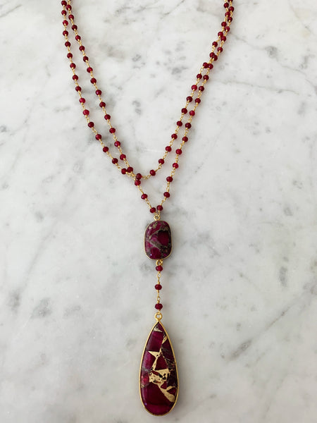 Diana Double Denmark Necklace Ruby with Red Mojave Copper Turquoise Drop