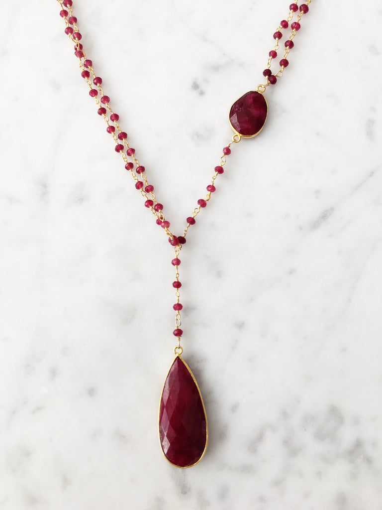 Diana Denmark Necklace Ruby with Ruby Drop