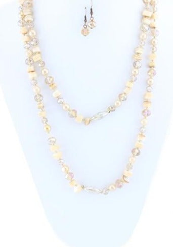 SALE Champagne Natural Cut Beaded Stone Necklace