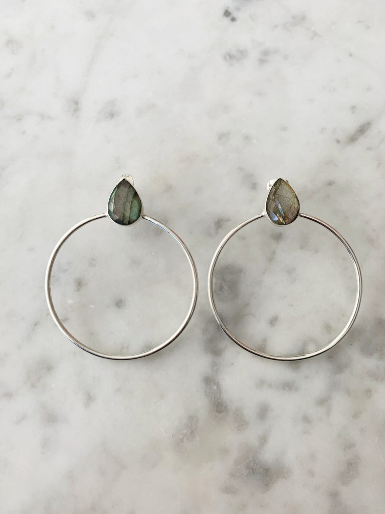 Lulu Silver Labradorite Hoop Earrings