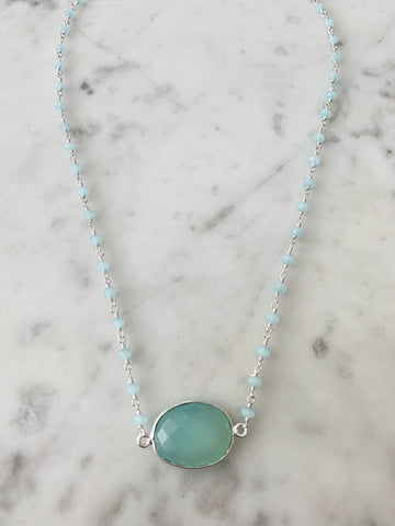 Mrs. Parker Endless Summer Necklace Silver Chalcedony