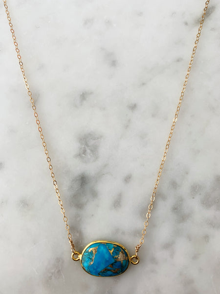 SALE Mrs. Parker Necklace in Gold Copper Turquoise