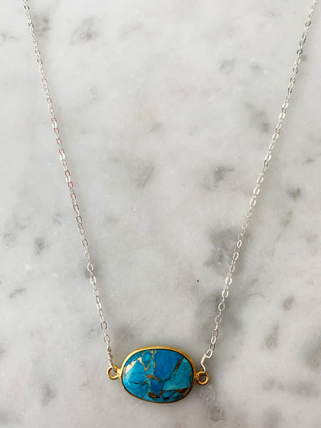 Mrs. Parker Necklace in Silver Copper Turquoise