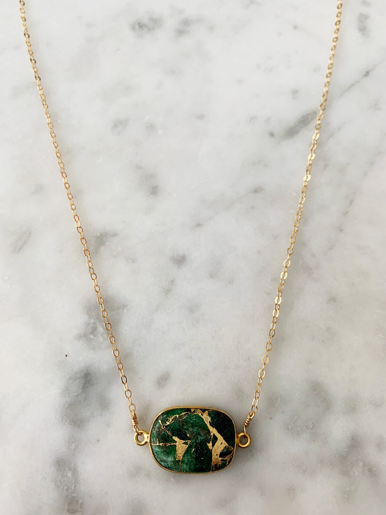 Mrs. Parker Necklace in Gold Green Mojave Copper Turquoise