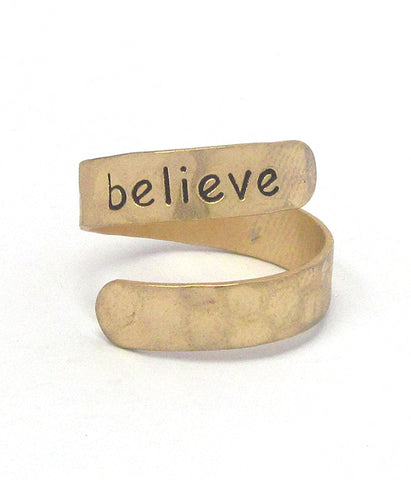 SALE Gold Religious Inspiration Swirl Ring - Believe
