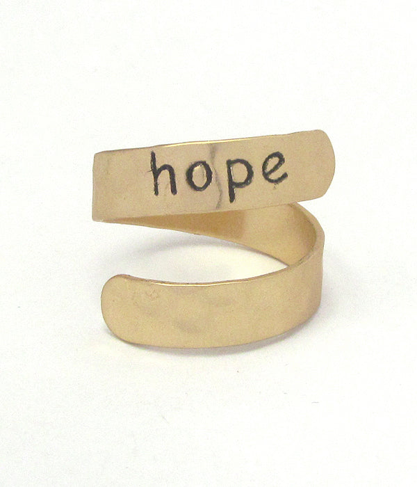 SALE Gold Religious Inspiration Swirl Ring - Hope