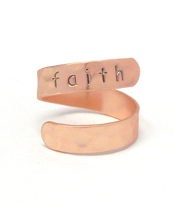 SALE Religious Inspiration Brass Swirl Ring - Faith