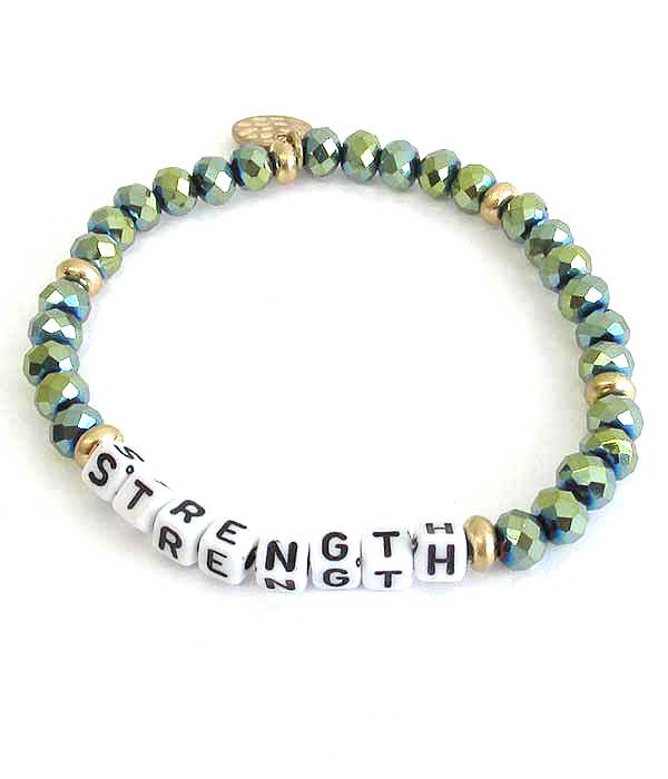 Green Crystal Stretch Bracelet with Gold Charm - Strength