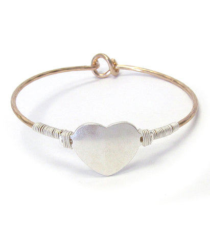 Simple wire wrap bangle bracelet - heart