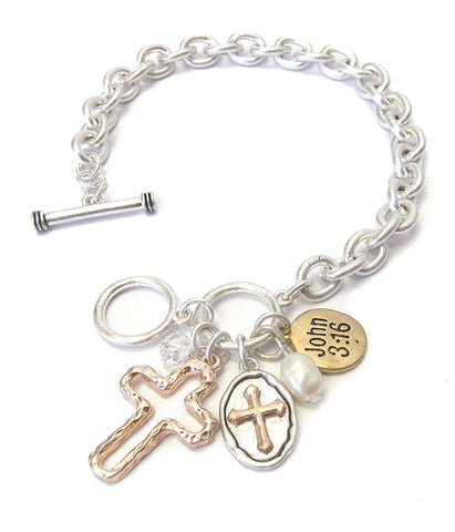 Multi Color Religious Inspiration Charm and Toggle Chain Bracelet - John 3:16