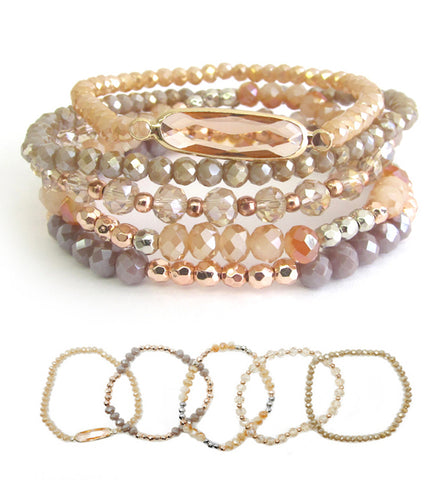 Semi precious stone 5 stretch bracelet set