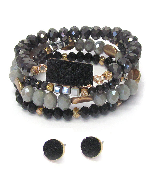 Druzy and mixed semi precious stone stretch bracelet and earring set