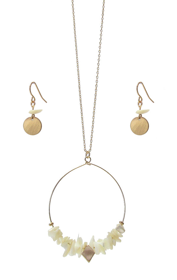 Quartz Wire Hoop Pendant Long Necklace Set with Matching Earrings