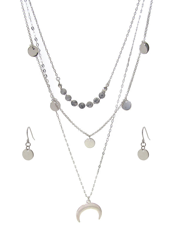 Silver Tusk Pendant and Gray Soap Stone Mutli Layer Necklace and Earring Set