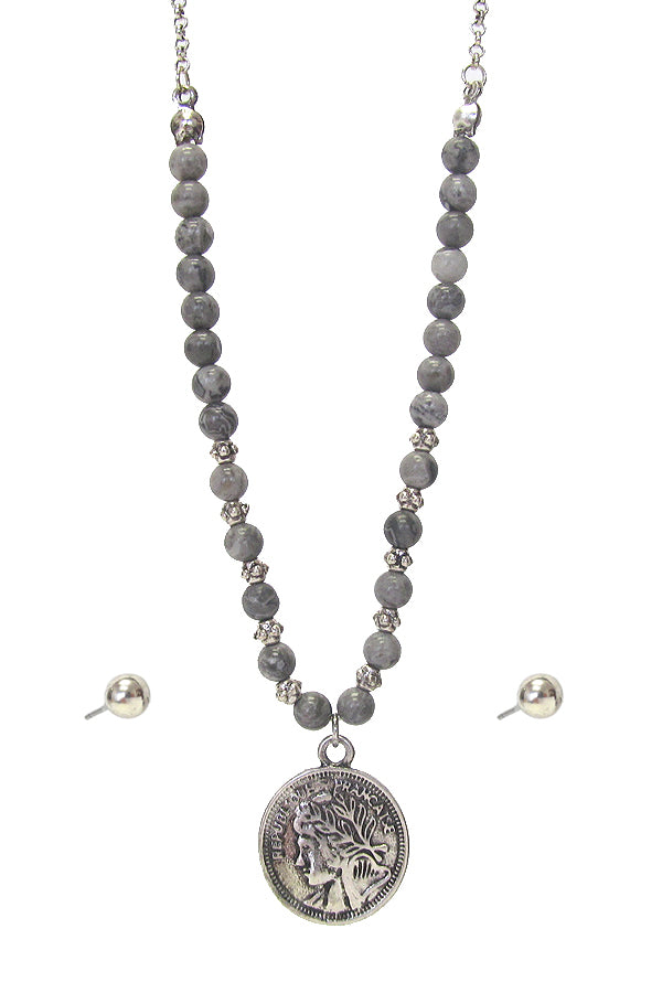 Silver Coin Pendant and Semi Precious Soap Stone Chain Necklace Set with Earrings