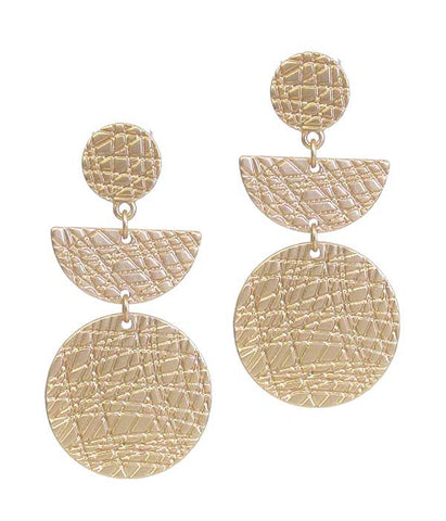 Gold Textured Metal Disc Drop Earring